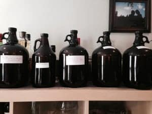 bottles of homemade herbal mead