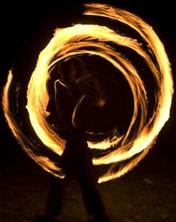 fire spinning, broken circles