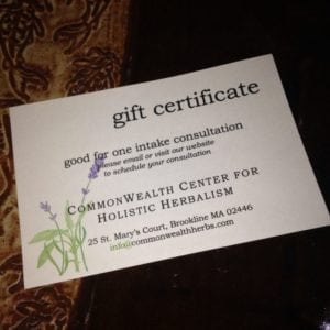CommonWealth Center for Holistic Herbalism gift certificate