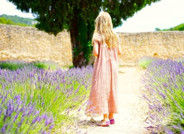 Picture of a girl on a path in a field of lavender.
